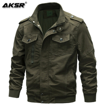 AKSR 2019 Mens Autumn Winter Jackets Coats Stand Collar Cotton Outerwear Military Jacket Male Brand Clothing Plus Size