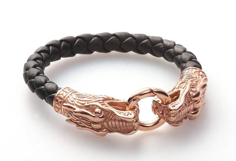 Top quality Genuine Leather Bracelet 316L stainless steel rose gold plating dragon leather bracelet for mens and womens AB095Top quality Genuine Leather Bracelet 316L stainless steel rose gold plating dragon leather bracelet for mens and womens AB095