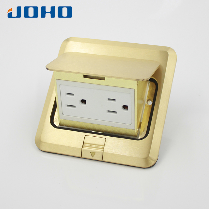 Brass Slow Pop Up Floor Socket Outlet Box with 15A UL listed Receptacle brass fast pop up floor socket outlet box with 15a us socket and rj11 data