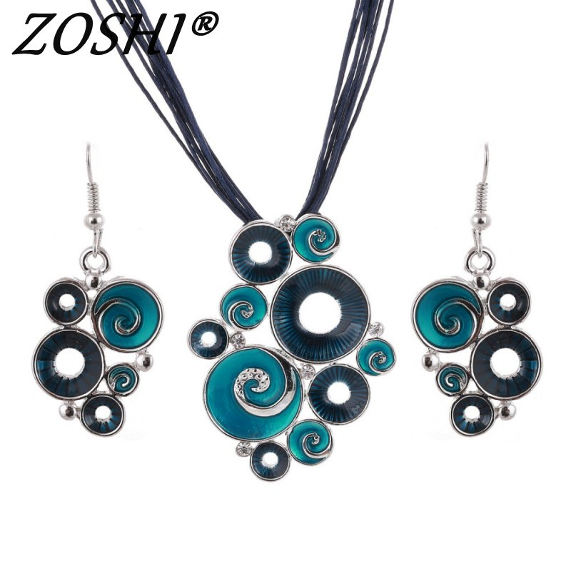 ZOSHI Fashon Colorful Enamel African Jewelry Sets For Women Gem Multilayers Leather Pendant Necklaces Earrings Wedding Sets