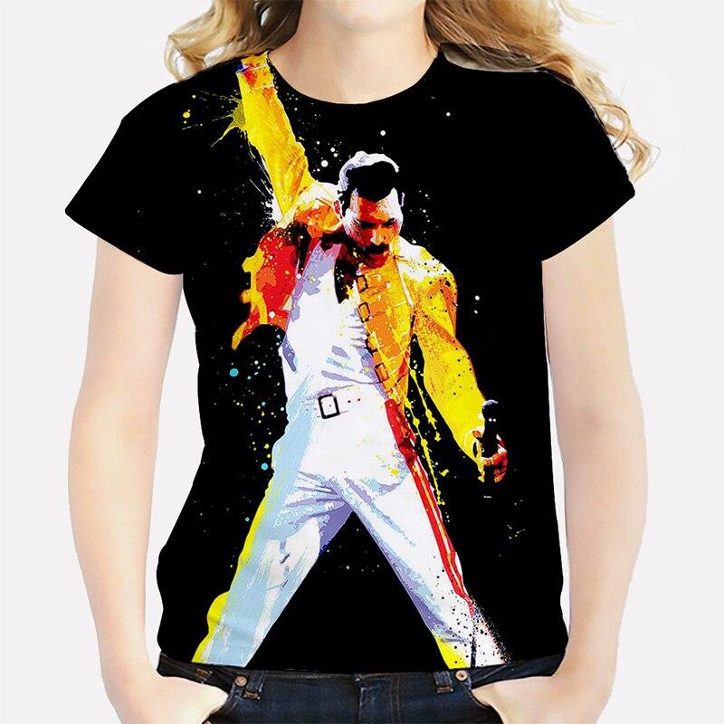 cde36689 Men's Freddie Mercury The Queen Band T-Shirt Mens Hip Hop Rock Hipster T  Shirt