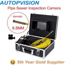 "new 30m Cable7"" TFT LCD Sewer diameter 6.5mm Sewer Pipeline Endoscope Inspection Snake Camera Stainless Steel Lens Waterproof"