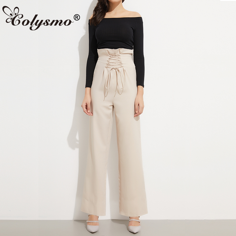 Colysmo Vintage Long   Pants   Women Trousers Paperbag High Waist   Pants   Summer Lace Up OL   Wide     Leg     Pants   Formal Casual Trousers