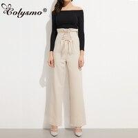 Paperbag Colysmo vintage Alta Cintura Plisado Ata Para Arriba el OL mujeres Pantalón de Pierna Ancha Formal Ruffles Casual Pantalones Largos Completos pantalones