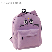 DUDINI Women Canvas Backpacks Cat Eyes Animal Printing School Bags For Teenagers Girl Rucksack Laptop Bagpack High Quality