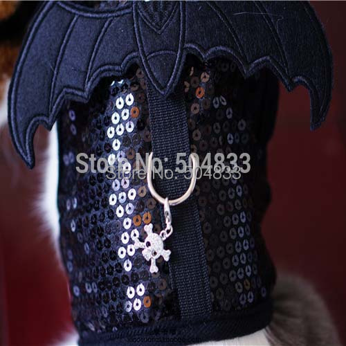 Giltter Dog Cats Batman Harness with Ghost Charm Pets Protect Vest Leash Set Non Pull S M L