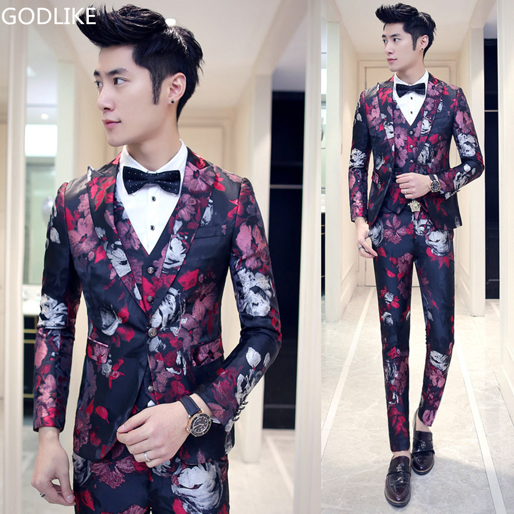 db6c8f53b59c2 US $79.98 49% OFF|New 2017 Luxury Brand Mens High Quality Floral Print  Flower Suit Stage Clothing Male Vintage Style wedding dress blazer-in Suits  ...
