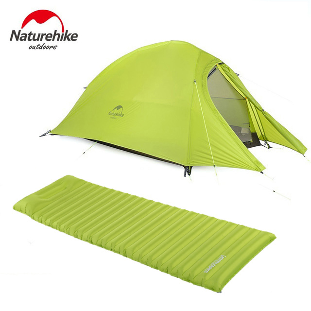 2017 Naturehike CloudUp Series Ultralight Hiking Tent 20D/210T Fabric For 2 Person With Mat NH15T002-T high quality outdoor 2 person camping tent double layer aluminum rod ultralight tent with snow skirt oneroad windsnow 2 plus