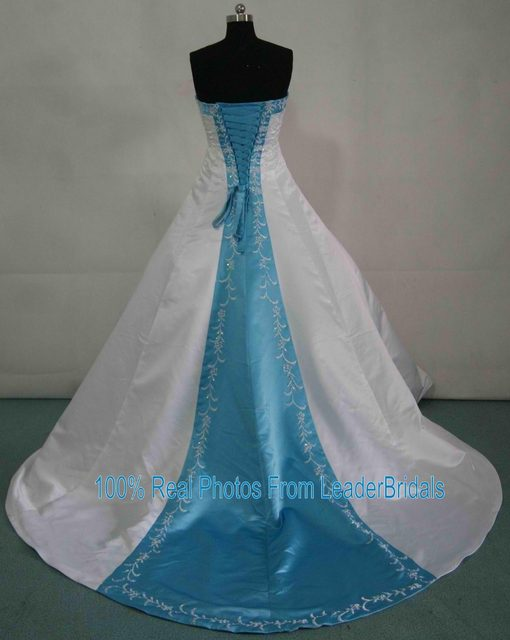 Online Shop New Wedding Dresses White Ivory Blue Green Purple Red ...