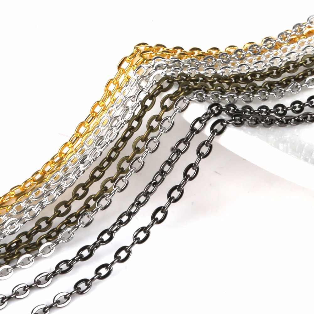 """12 Plateado Plata cadenas de eslabones Collares 2x3mm 18 /"""""""