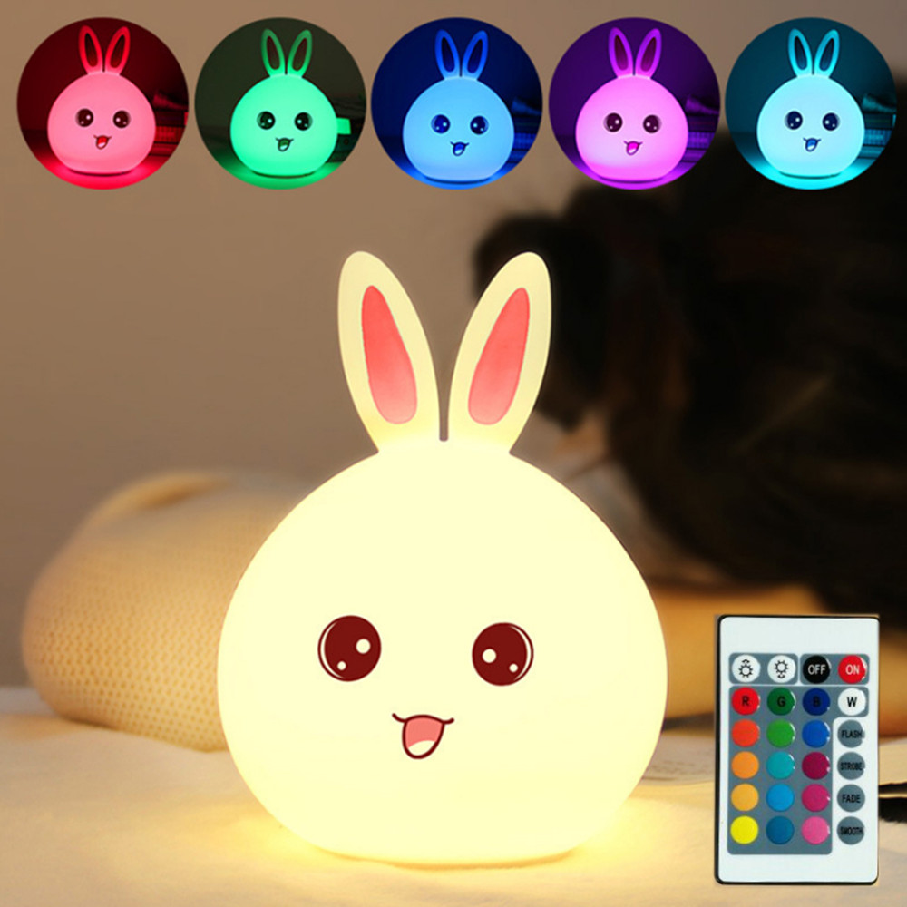 Cartoon Rabbit Night Light Touch Sensor Remote Control RGB LED Lamp USB Rechargeable Silicone Bunny Lamp For Children Kids Baby