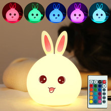 Touch Sensor Colorful Bunny LED Night Light Remote Control RGB USB Charging Silicone Rabbit Bedroom Bedside Lamp for Children