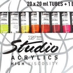 Gratis verzending Frankrijk Pebeo 20 kleuren acrylverf studio pigment set with1 borstel 20 buizen x 20 ml professionele hoge viscositeit