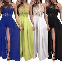 Sexy Backless Beach Long Dress Black White Blue Flower Embroidery Party Dresses Women Split Maxi Boho