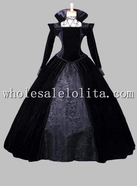 Готическое Плиссированное и Атласное в викторианском стиле с принтом; бальное платье; сценический костюм - Цвет: Черный