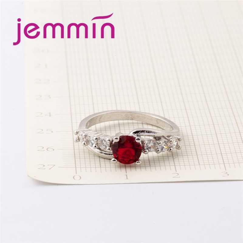 Nuevo y generoso corte redondo grande rojo y blanco CZ 925 anillo de plata de ley precioso perfecto elaborado para amantes de la joyería al por mayor