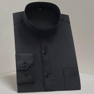 Image 2 - Chinease Stand Kraag Solid Plain Regular Fit Lange Mouwen Party Mandarijn Bussiness Formele Shirts Voor Mannen Met Borstzak