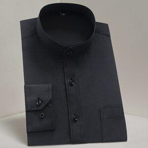 Image 2 - Chinease stehkragen solide plain regular fit langarm party Mandarin bussiness formale shirts für männer mit brust tasche