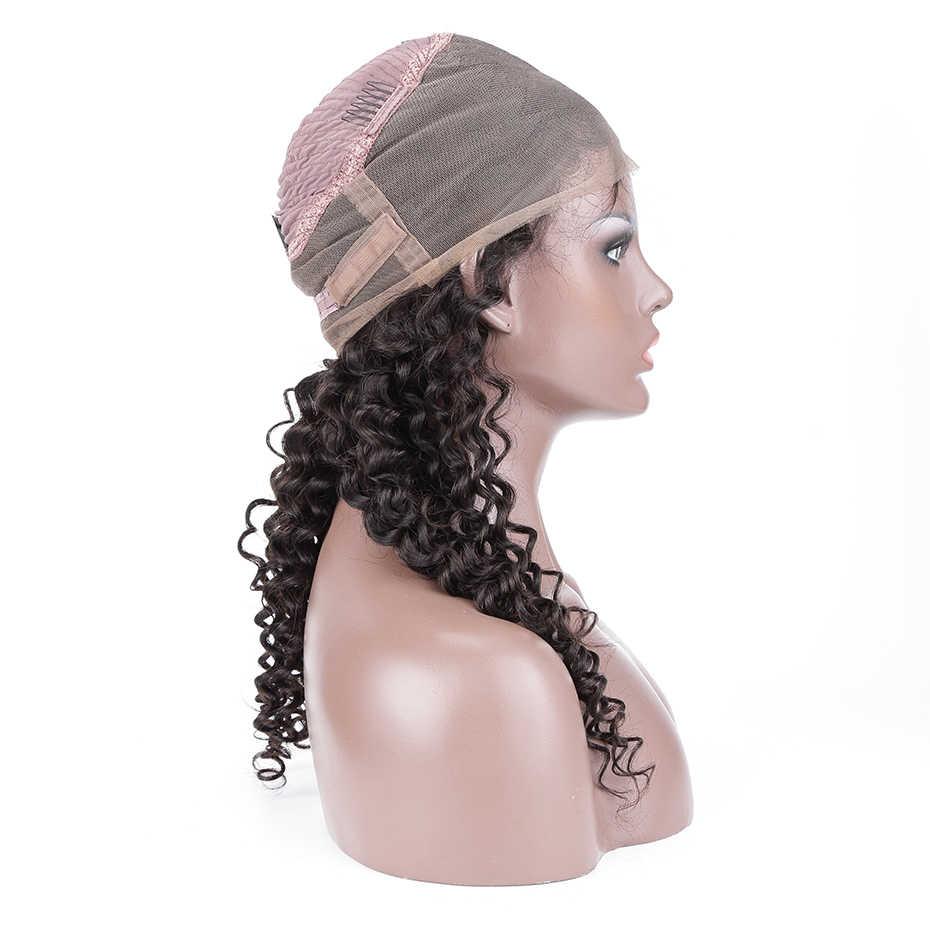 Braziliaanse 360 Kant Frontale Pruik Met Baby Haar Natuurlijke Haarlijn Full Lace Front Krullend Menselijk Haar Pruiken Voor Zwarte Vrouwen