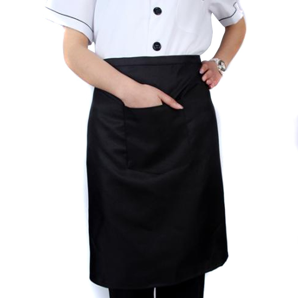 White half apron with pockets - Plain Black Chefs Butchers Kitchen Bar Restaurant Waist Apron With Pocket In Aprons From Home Garden On Aliexpress Com Alibaba Group