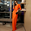 HIGH QUALITY New Fashion 2016 Spring Women's 3/4 Sleeve V-neck Solid Brief Slit Casual Long Maxi Dress Size S-XXL 6 colors