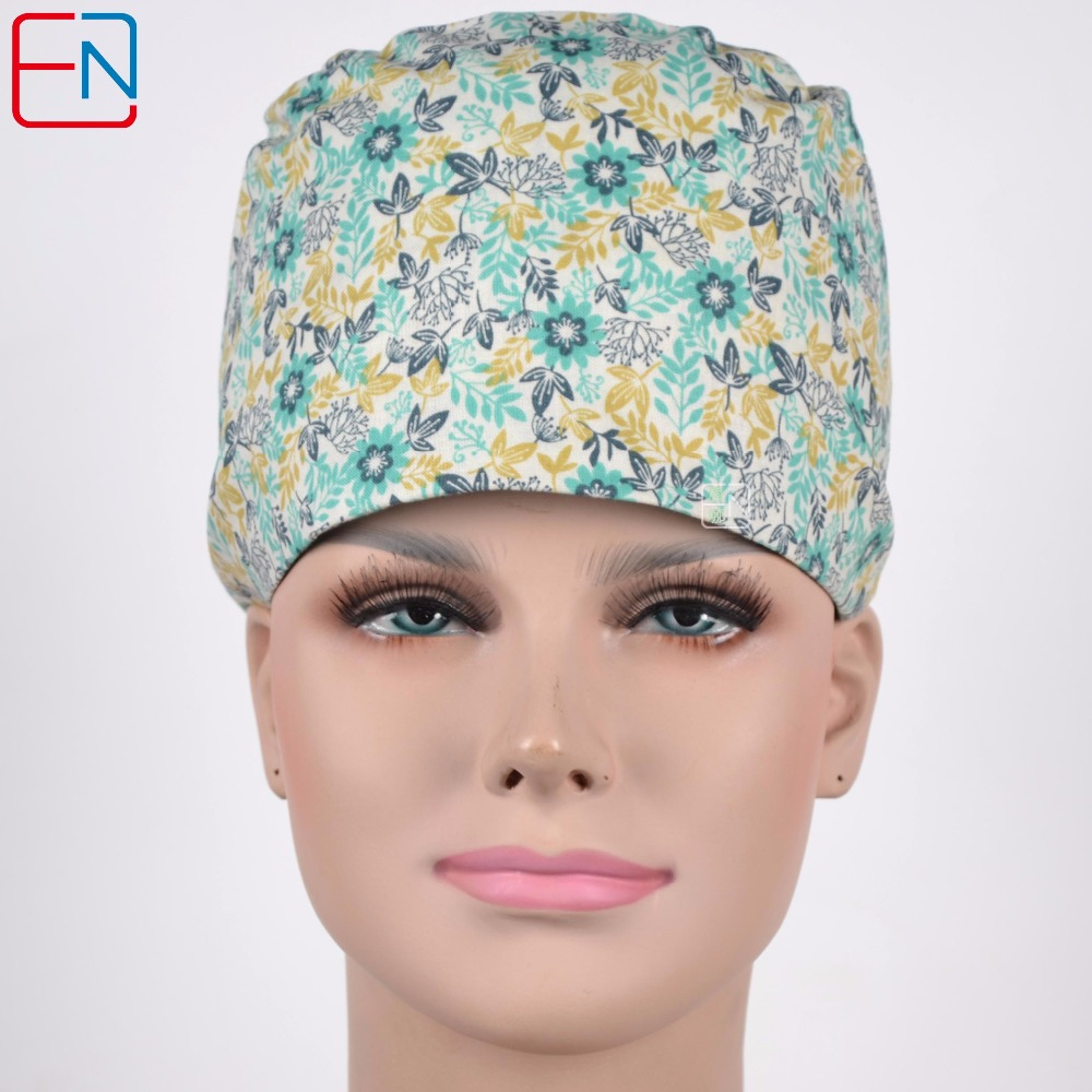 180413 Hennar Medical Surgical Hat Women 2018 Lab Hospital Cotton Printed Medical Scrub Operation Caps Adjustable Surgical Caps