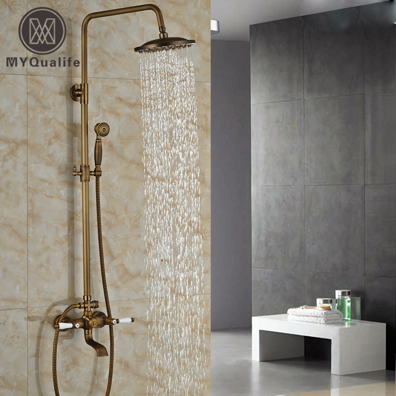 Antique Brass Dual Ceramic Handles 8 Rainfall Bath Shower Faucet Set Wall Mount with Brass Handshower chrome bathroom thermostatic mixer shower faucet set dual handles wall mount bath shower kit with 8 rainfall showerhead