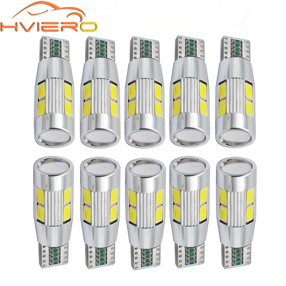 цена на 10X T10 W5W 194 192 158 White Blue 10Led 5630 5730 SMD PCB DC 12v Car Auto Parking Light Led W5W Xenon NO OBC ERROR Side Bulb