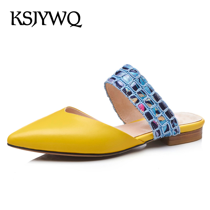 KSJYWQ Yellow Mules for Women Pointed-toe Summer Slippers 2 cm Low Heels Sexy ladies Plus Size 43 Shoes Woman Box Packing T28 new 2017 spring summer women shoes pointed toe high quality brand fashion womens flats ladies plus size 41 sweet flock t179
