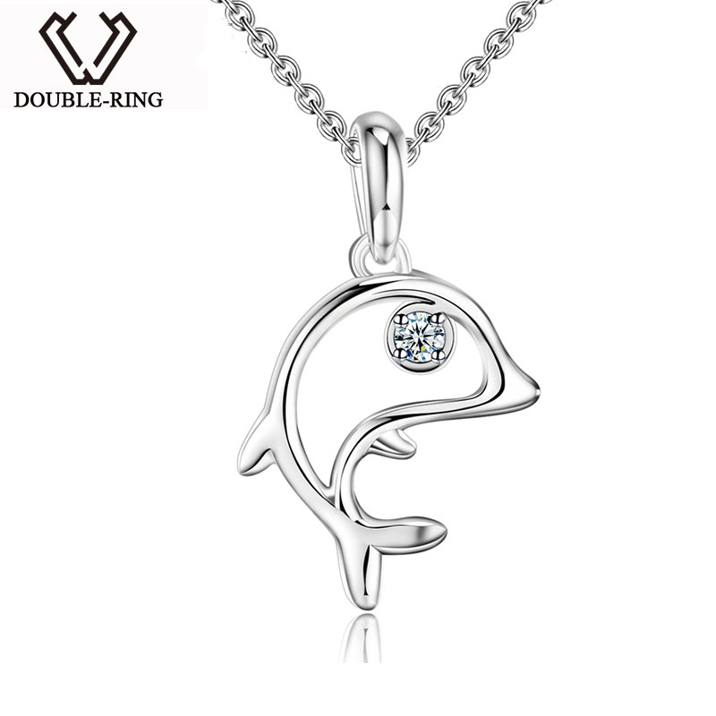 DOUBLE-R 925 Sterling Silver Pendant Women Diamond 0.03ct Fish Necklaces Pendants Trendy Christmas Gift Fine Jewelry CAP03739SA-DOUBLE-R 925 Sterling Silver Pendant Women Diamond 0.03ct Fish Necklaces Pendants Trendy Christmas Gift Fine Jewelry CAP03739SA-