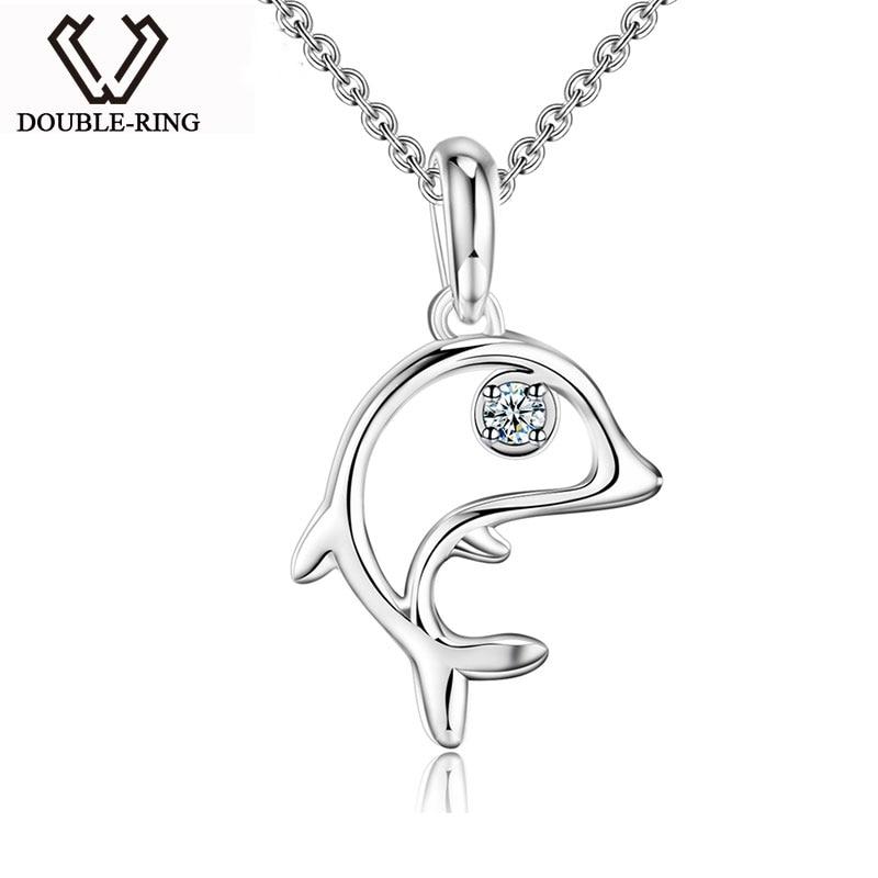 DOUBLE R 925 Sterling Silver Pendant Women Diamond 0.03ct Fish Necklaces Pendants Trendy Christmas Gift Fine Jewelry CAP03739SA