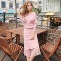 Женщины комплект одежды весна осень зима 2016 feminina сладкий моды свободно ногтей шарик knitt свитер розовый черный юбки женский A2159