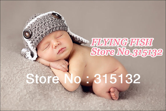 Baby Gray and white pilot hat  ec51f73a5e4