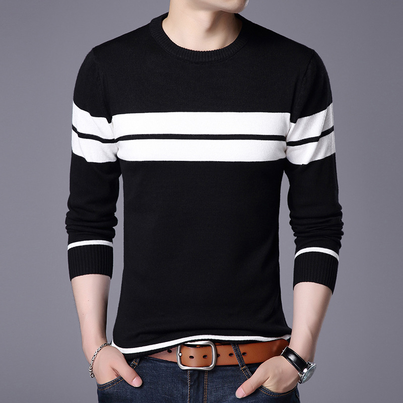 The New 2019 Autumn Outfit Striped Sweater Sets Men Long Sleeve Round Collar Recreational Sweater