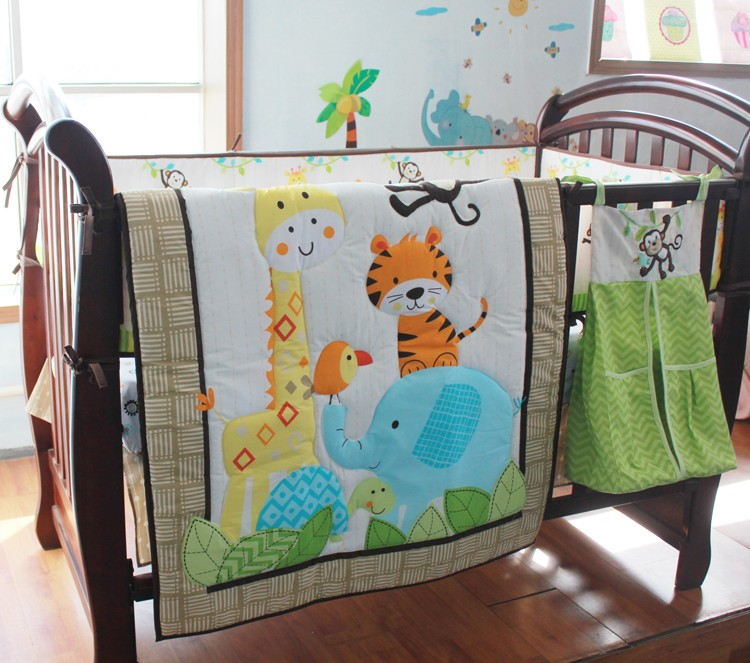 Baby Bedding Set Embroidery Forest Animal Elephant Giraffe