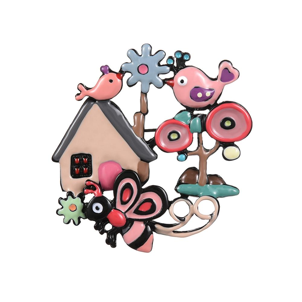 Cring Coco Hot Sale Colorful Enamel Bee Birds Brooches and Pins Badge Unisex Brooch Dress Costume Sweater Bag Lapel Pin Gift in Brooches from Jewelry Accessories