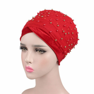 Image 3 - New Luxury Women scarf Hijab Hats Velvet Gold Beaded Decorate Long Head Scarf Headscarf Turban Caps Indian Caps Wrap Cap