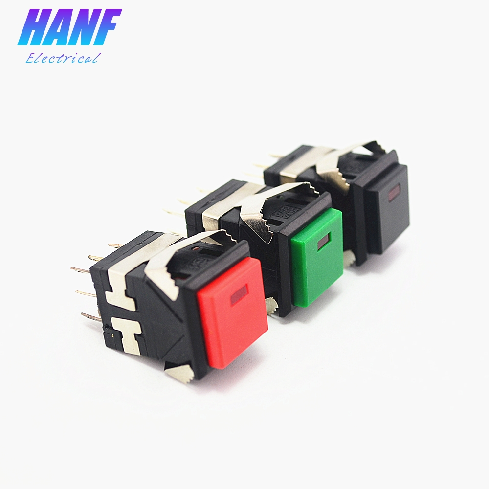 1pcs 17.2*17.2mm Self-Latching 2NO2NC Square Push Button Switch 3A/250V 6A/125V With LED Lamp Snap-in Plastic