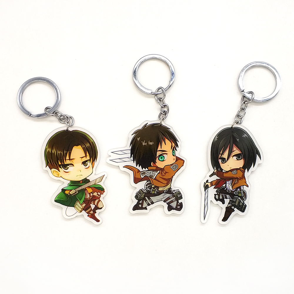 Love Thank You Attack on Titan 3 styles key chain ring pendant toy gift anime Eren Jaege ...