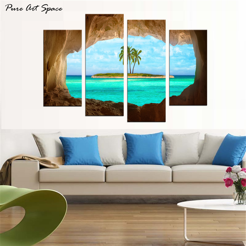 4 Piece Canvas Art Print Large Wall Pictures Cave View for a Coconut Tree on Island Decorative Pictures for Room