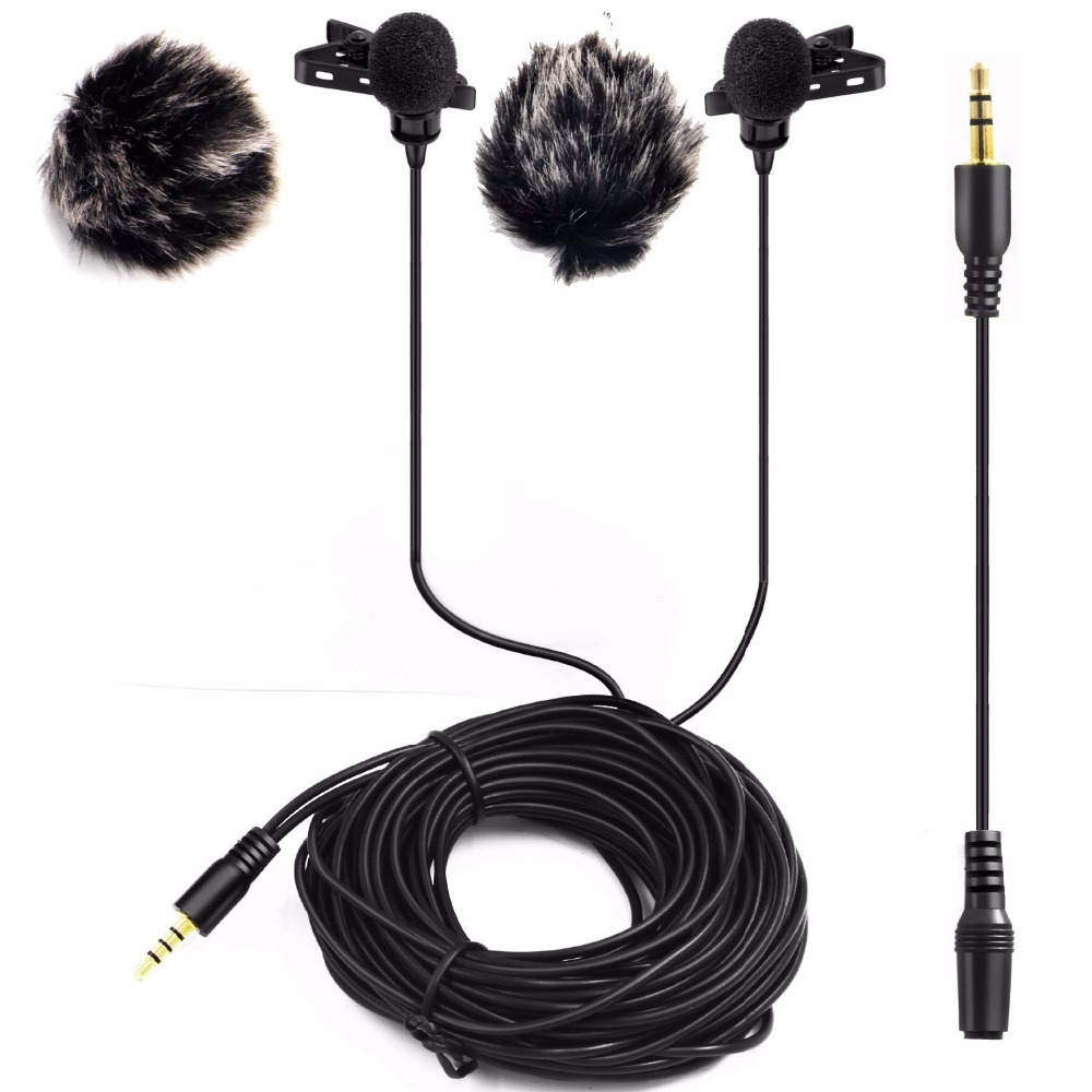 Nicama LVM2 Dual Headed Condenser Microphone with Windscreen Muff for DSLR Camera Audio Recorders iPhone Macbook