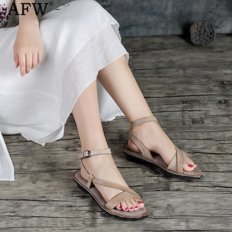 AFW Women Leather Sandals Khaki Low Heel Summer Shoes 2018 Handmade Women Genuine Leather Sandals Retro Casual Style Shoes Sale new women sandals low heel wedges summer casual single shoes woman sandal fashion soft sandals free shipping