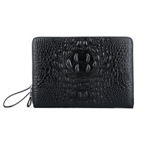 2018 Business Zipper MoneyClip Wallet Clutch Bag Men's Purses Genuine Leather Men Wallets Man Wristlet Handbag Long Male Purse