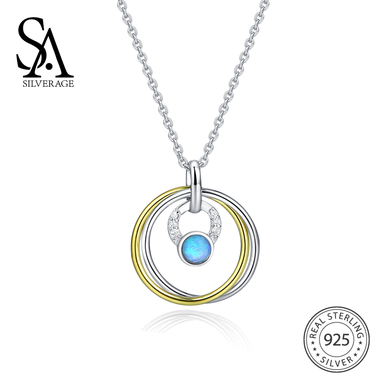 SA SILVERAGE 2018 Women Opal Pendant Necklaces Real 925 Sterling Silver Round Circles Chocker Necklaces For WomenSA SILVERAGE 2018 Women Opal Pendant Necklaces Real 925 Sterling Silver Round Circles Chocker Necklaces For Women