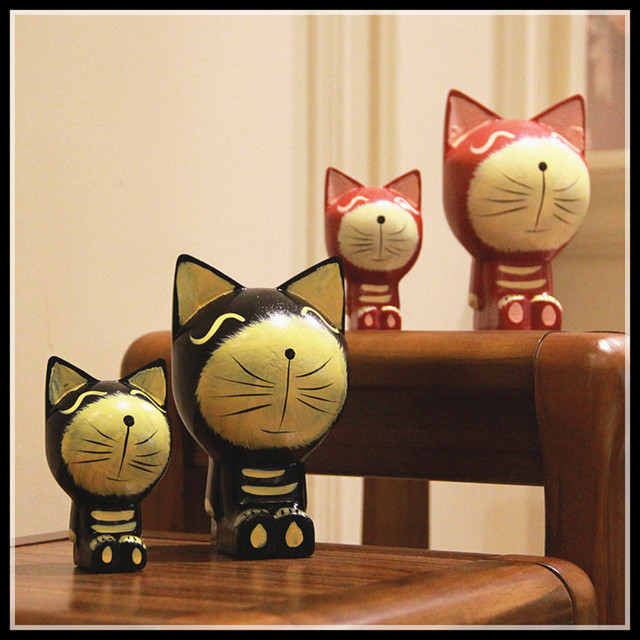 2 Pieces/set Wood Cat Statue Home Decoration Accessories Kawaii Christmas Toys Bedroom Decoration Ornaments Gift