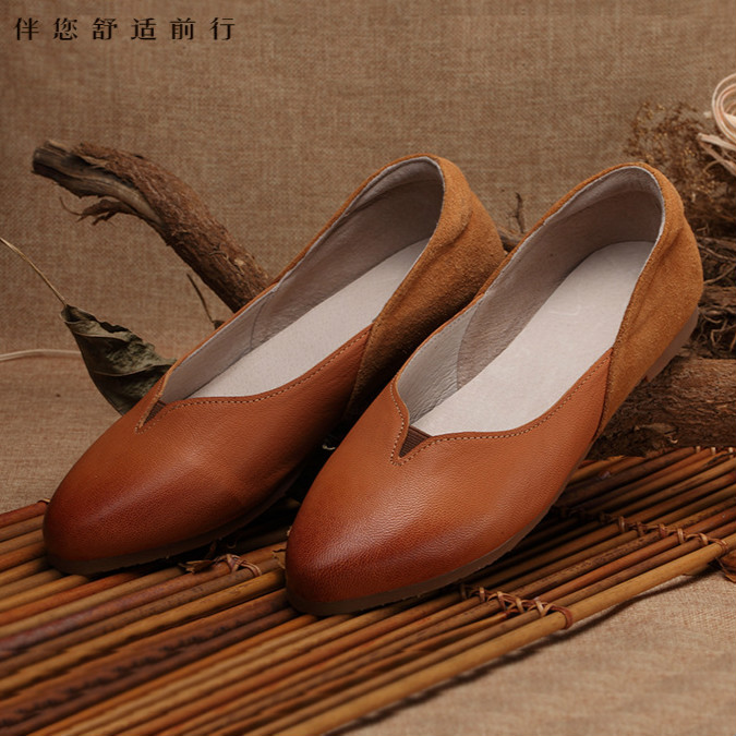 2016 new handmade Top layer Genuine leather shoes,European style leisure comfortable flat shoes,the retro art mori girl shoes hot sale mens italian style flat shoes genuine leather handmade men casual flats top quality oxford shoes men leather shoes