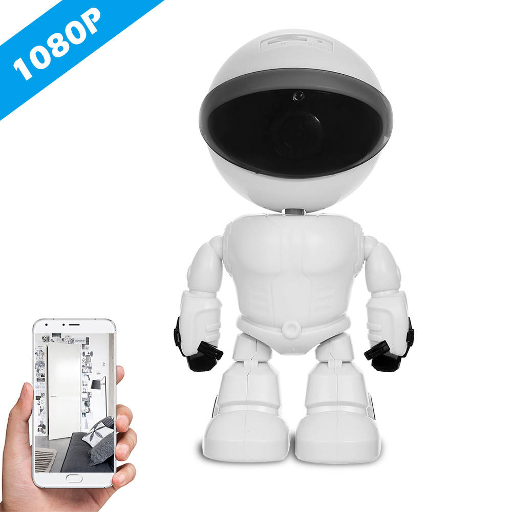 HD 1080P WiFi Robot IP Camera Pan Tilt Security WiFi Camera Support P2P Night Vision Motion Detection Two Way Audio+TF Card Slot