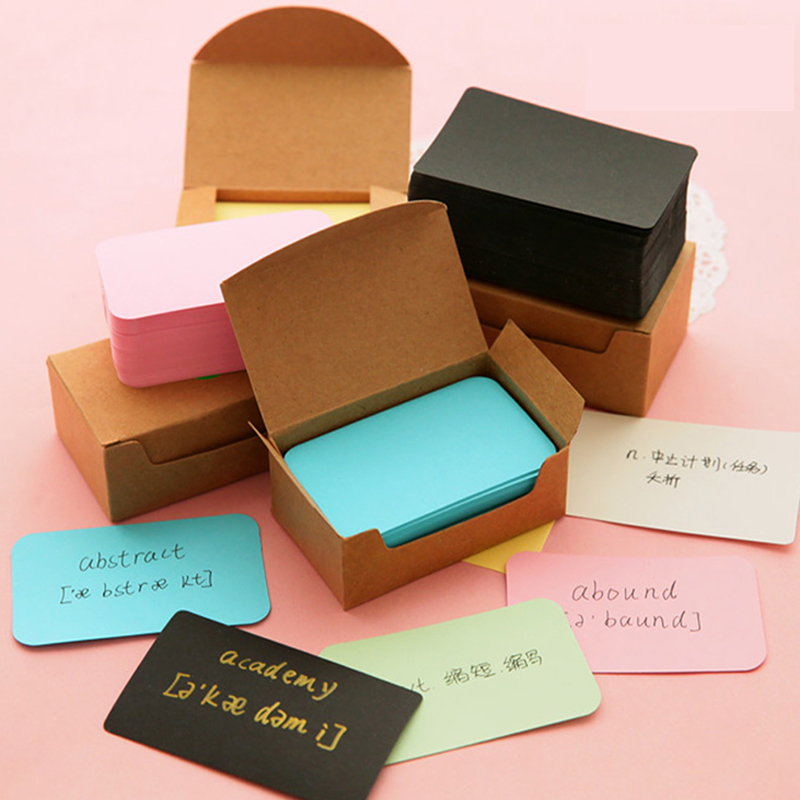 Kraft Paper Card Blank Business Cards Memo Bookmarks 100 Pcs Learning English Word Cards Home Office Storage Organiser