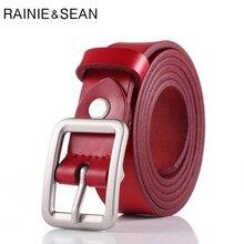 RAINIE SEAN Vintage Belt Woman Red Genuine Cow Leather Female Luxury Designer Brand Retro Pin Ladies Jean Belts