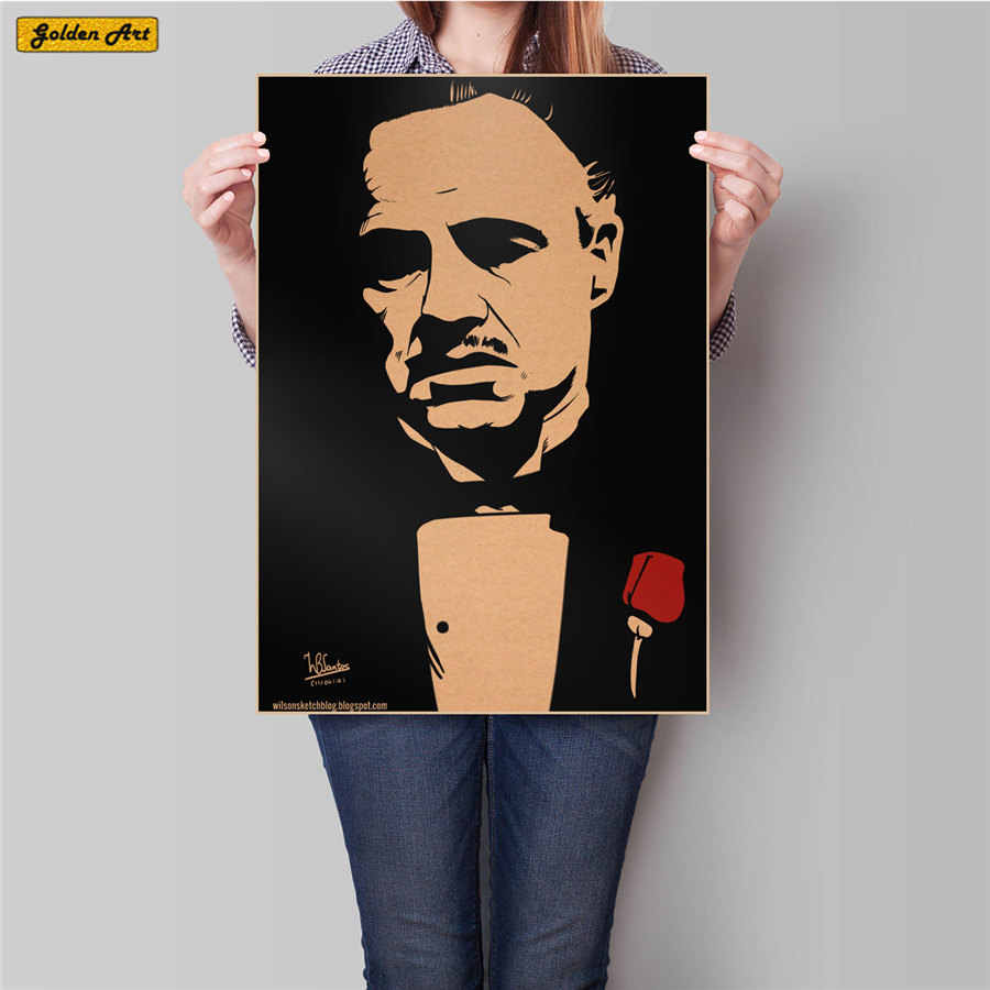 Godfather Movie Poster vintage Kraft Paper Poster HD Bar/Pub/cafe Decor Retro Painting Wall Sticker Living room 45.5cmx31.5cm